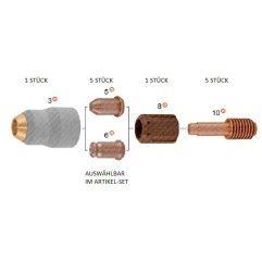 Plasmateileset für Hypertherm Powermax 30 / 45 - 1x Aussendüse, 5x Plasmadüse, 1x Wirbelring, 5x Plasmaelektrode