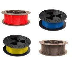 Teflonseele Rot/Gelb/Blau - 0.6-2.4mm - PTFE Kohleseele - 1.2mm (Preis pro lfdm)