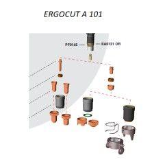 Trafimet Ergocut A101 - 1 Luftrohr, 1 Swirl Ring, 5 Elektroden l., 5 Schneiddüsen l. 1,4mm, 1 Aussenschutzdüse, 1 Abstandsstück
