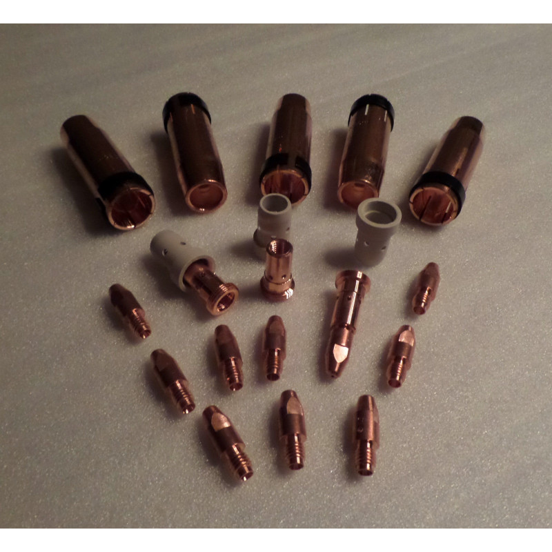 MB/ABIMIG W555/401/501 Set 0,8mm, 5 Gasdüsen, 10 Stromdüsen, 2 Düsenstöcke, 3 Gasverteiler3