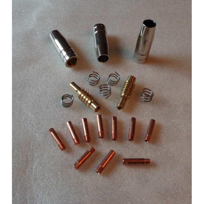 MB 15 Set 0,8mm, 3 Gasdüsen, 10 Stromdüsen, 2 Gasdüsenträger, 5 Haltefedern