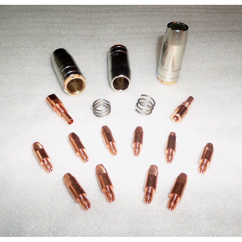MB 25 Set 1,0mm, 3 Gasdüsen, 10 Stromdüsen, 2 Gasdüsenträger, 2 Haltefedern