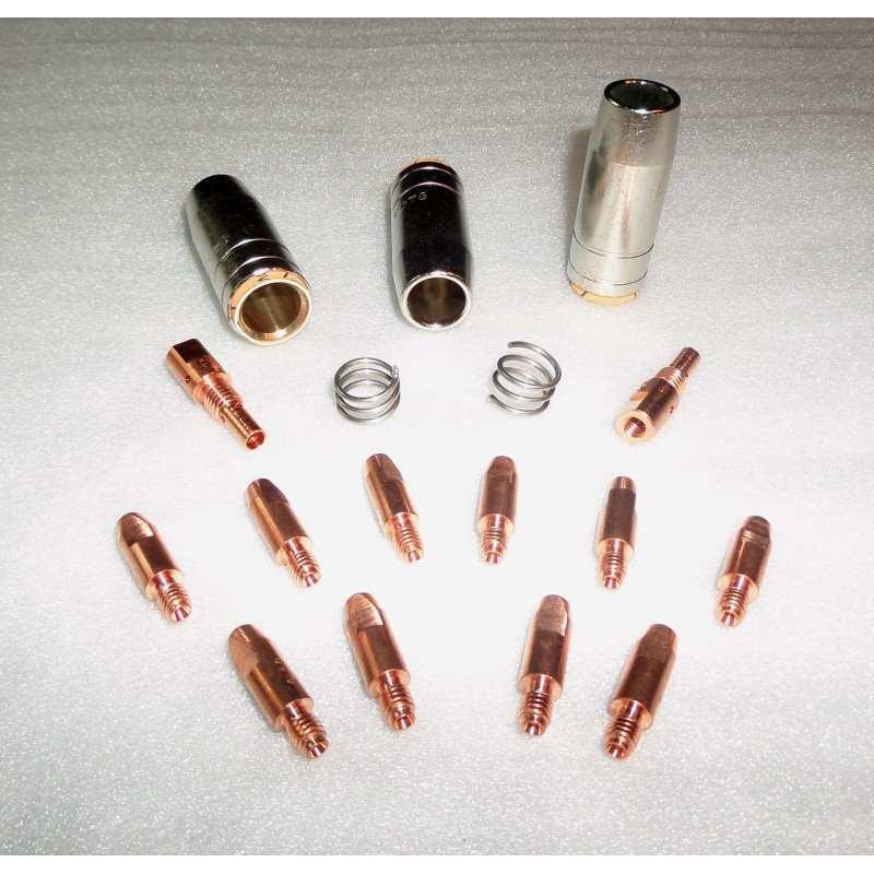 MB 25 Set 1,2mm, 3 Gasdüsen, 10 Stromdüsen, 2 Gasdüsenträger, 2 Haltefedern - 145.0076-63 - - 18,53€ -