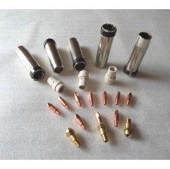 MB 36 Set 0,8mm, 5 Gasdüsen, 10 Stromdüsen, 3 Düsenstöcke, 3 Gasverteiler
