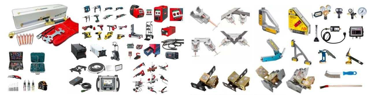 Ausrüstung, Schutzkleidung, Schweisserhelme, Druckminderer etc.