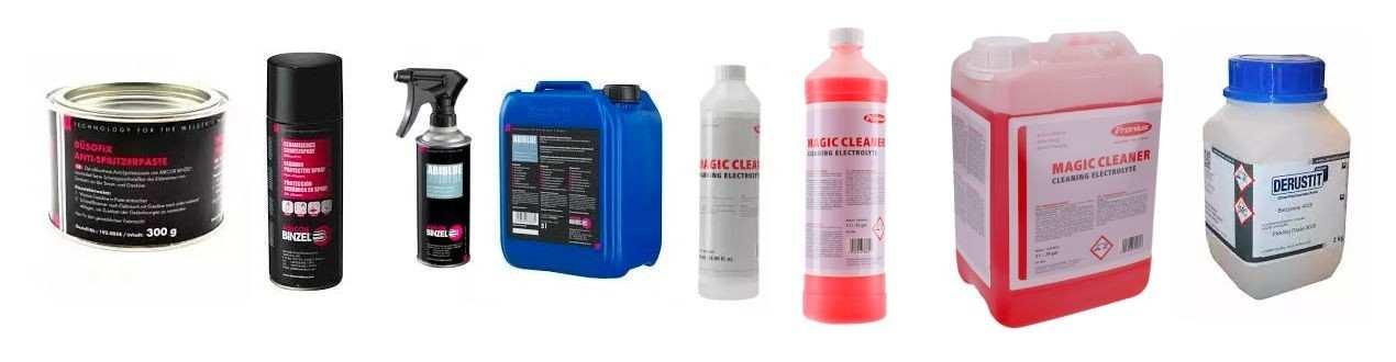 Beizpaste, Beizreiniger für Aluminium und Edelstahl, Kühlflüssigkeit, Schweißnahtreiniger, Trennmittel, Trennspray