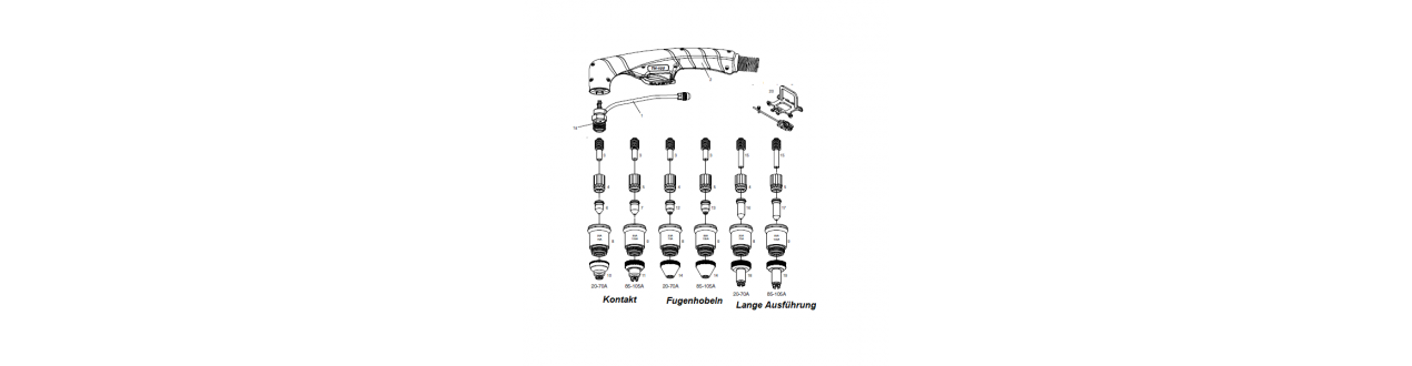 Verschleissteile für Plasmaschneidbrenner Platec TH70 / ST70