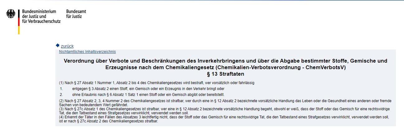 Chemikaliengesetz (Chemikalien-Verbotsverordnung - ChemVerbotsV) § 13 Straftaten